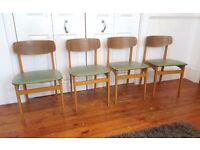 4 x Vintage Teak Mid Century Retro Chairs
