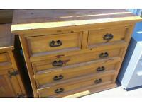 Solid Chunky pine chest of drawers, good clean condition. Local delivery can be arranged