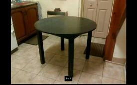 Black round table