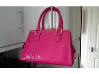 Ted baker genuine pantent tote leather handbag in raspberry sundae colour