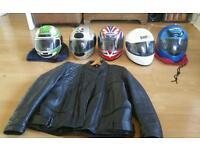 5 Crash Helmets, 1 Leather Jacket