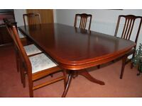 Mahogony Dining table and six chairs