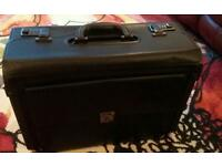 High Quality Black Leather Pilot's Doctor's Briefcase