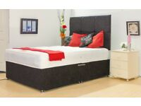 HIGH QUALITY LUXURY DIVAN BED with MEMORY FOAM MATTRESS - with HEADBOARD 3FT 4FT6 Double, King Size