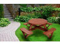 Garden Bench Round Picnic Table - 8 seats