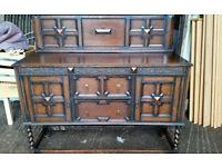 Solid Oak Antique Carved Dresser