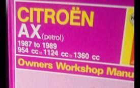 Haynes Citroen AX petrol. Owners Manual.