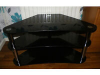 Black Glass TV Stand 3 shelves in good condition