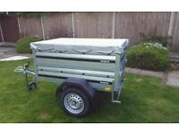New Brenderup 1150s Car trailer +extension sides + flat cover.