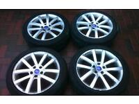 "Ford 17"" 5 stud alloys and tyres connect mondeo focus 5x108"