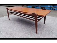 1960s Danish style solid Teak Coffee Table. Vintage/Retro/Mid Century,Can Deliver
