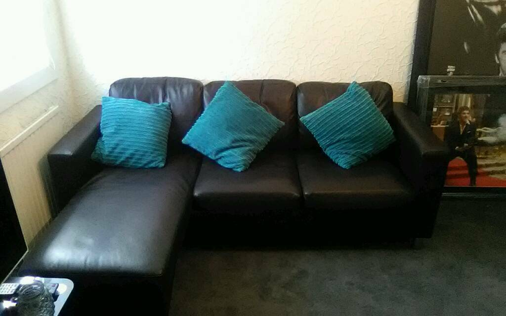 Small corner faux leather couch
