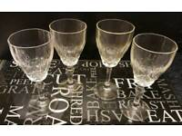 Set of four vintage wine glasses