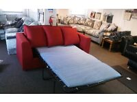 BELLA 3 SEATER PULL OUT FUNCTION BED IN TWEEDY RED MATERIAL BRAND NEW £299 HAND MADE RRP £599