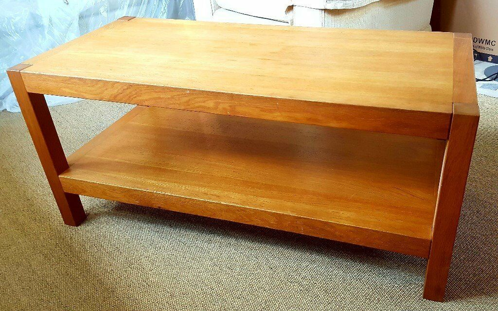 good quality laura ashley solid oak coffee table and nest of two