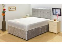 CHENILLE HIGH QUALITY LUXURY DIVAN BED WITH MEMORY FOAM MATTRESS - WITH HEADBOARD 3FT 4FT6 Double 5F