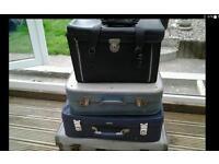 Vintage suitcases and sewing boxes etc great bedroom storage / display