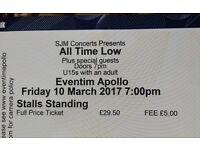 .. TWO .. ALL TIME LOW TICKETS .. @ LONDON .. FRIDAY 10 MARCH 2017 ..