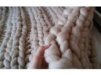New handmade pure 100% natural wool blanket - 125×125cm - excellent as Christmas gift