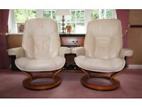 Stressless Recliner Cream Leather Chairs (pair)