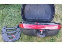 Givi large top box and alumium givi rack