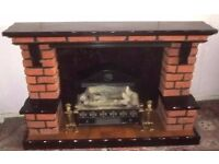 Electric fire with separate brick surround