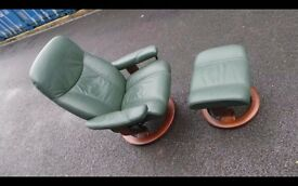 "GREEN LEATHER ""EKORNES STRESSLESS"" RECLINER ARMCHAIR & FOOTSTOOL,DELIVERY"