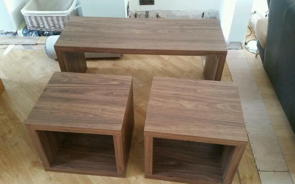 Next Mode Range Two Walnut Cubes With Matching Coffee Table
