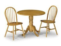 Dundee drop leaf table and 2 chairs. New.
