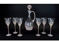 Romanian - 1960's Stylish Crystal Set of Six Wine Glasses with Matching Decanter ART Deco style