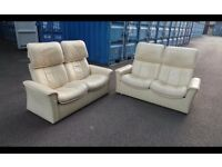 2x Ekornes Stressless Reclining Cream Leather Two Seater Sofas,Good Condition