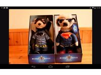 Meerkat toy collectables, superman and batman, brand new, £35 each or £60 for both
