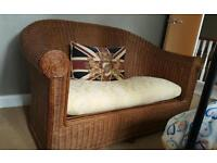 Wicker/rattan double seat settee and single seat chair