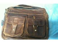 Men's Brown Leather Vintage Bag