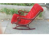 Rocking chair mahogany and velvet