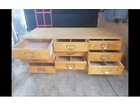 Vintage Chest Set Haberdashery Sewing Drawers x 12 Brass Handles,Can Deliver