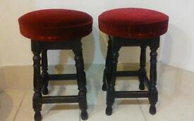 2 x lovely vintage solid pub stools