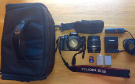 CANON EOS 450D with kit lens (CANON 18-55 mm EF IS + CANON EF 50mm f/1.8 II) + kit accesories - 230£