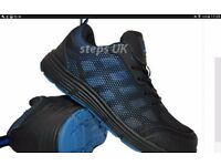 NEW STEEL TOE CAP TRAINERS BLACK AND BLUE SIZES 8,10 AND 11 AVAILABLE £49.99