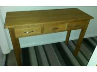 Three Drawer Oak Console Table