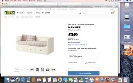 Day-Bed / Sofa Ikea Hemnes, white, 80 x 200 cm normal, 160 x 200 cm extended