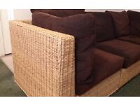L Shaped wicker based settee to seat 5