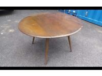 ERCOL SOLID ELM AND BEECH OVAL DROP LEAF DINING TABLE 07448733546