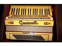 Antique ITALY CRUCIANELLI ACCORDION musical instrument 30's
