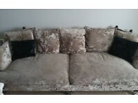 Sofology crushed velvet sofa set (4 + 2 + Footstool