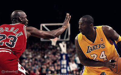 "Kobe Bryant VS Michael Jordan Basketball Star Fabric poster 40"" x 24"" Decor 150"