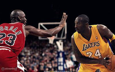 "Kobe Bryant VS Michael Jordan Basketball Star Fabric poster 40"" x 24"" Decor 150"