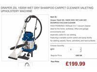 Draper 20L 1500W WET DRY SHAMPOO CARPET CLEANER VALETING upholstery MACHINE