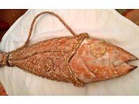 VINTAGE WOODEN SCULPTURED FISH ART - £65 ONO