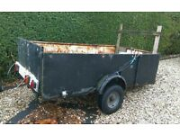 Battle scarred , well used metal trailer 8 foot long x 4 foot wide x 2 foot high approx